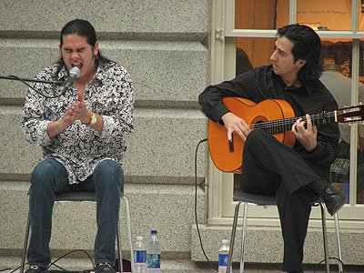 Jose Oretea and Ramin Rad performing tientos/tangos in the Kogod Courtyard of the Smithsonian American Art Museum