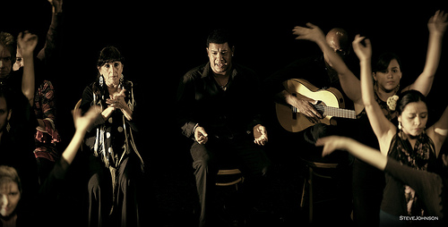 Arte Flamenco director Natalia Monteleon, singer Hector Marquez and guitarist Miguelito at ArtScape