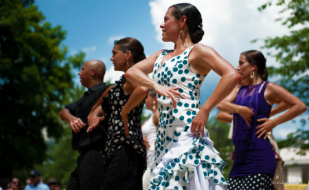 Dancers of Flamenco Aparicio, one of several invited companies performing at the DC Feria: Edwin Aparicio, Anna Menéndez, Dana and Yolit