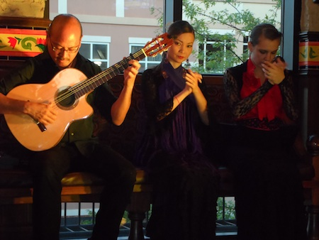 Flamenco guitarist Miguelito with dancers Kyoko and Sarah Louisa Castellanos at La Tasca Clarendon