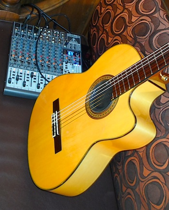 My trusty Behringer mixer and Yamaha flamenco guitar