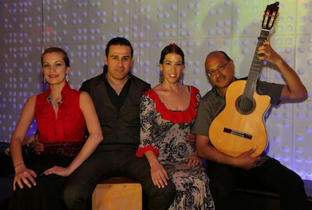 Flamenco dancers Sarah Louisa Castellanos, Jason Vera y Aragon, Yolit Yospe and guitarist Miguelito at Lima Lounge in Washington DC