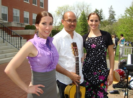 Flamenco dancers Yolit Yospe (left) and Cecilia Terrasa with guitarist Miguelito at University of Mary Washington's Multicultural Fair