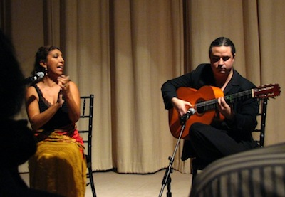 Flamenco singer Esperanza Fernandez and guitarist Richard Marlow at the National Gallery of Art East Building auditorium