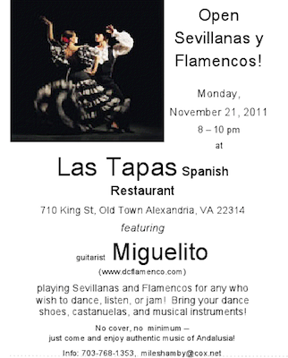 Open Sevillanas and Flamenco Party at Las Tapas