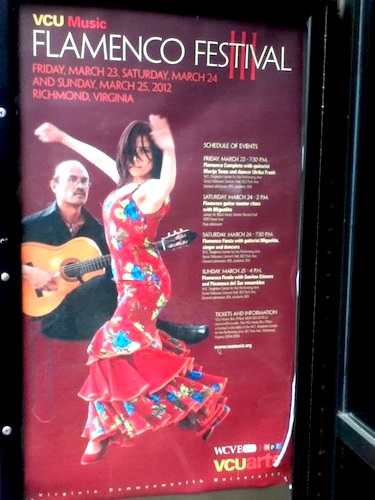 VCU Flamenco Festival III poster based on a photo of Ginette and Miguelito  taken by Niko Alexandrou