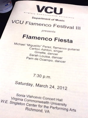 Program for the Saturday night Flamenco Festival concert titled Flamenco Fiesta