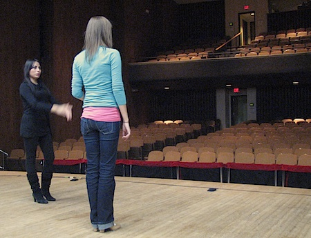 Onstage at VCU's Sonia Vlahcevic Concert Hall: dancers Ginette and Sarah Hart discussing choreographic ideas for the closing group bulerias
