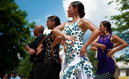 Dancers of Flamenco Aparicio, one of several invited companies performing at the DC Feria: Edwin Aparicio, Anna Menéndez, Dana and Yolit