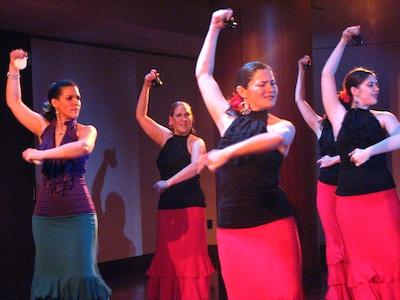 Furia Flamenca director Estela Velez with Lauren, Morgan and Amy